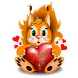 Ardilla con el corazón del amor Imagen de archivo libre de regalías