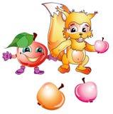 Ardilla y manzanas de la historieta Imagenes de archivo