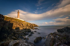 Ardnamurchan Lighthouse. Lighthouse on cliffs of Ardnamurchan Point at sunrise, Highlands, Scotland Royalty Free Stock Images