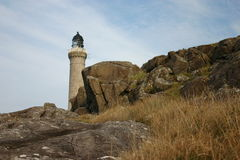 Ardnamurchan lighthouse. Is a 36-metre-tall, pink granite tower lighthouse built in 1849 by Alan Stevenson. It is the only lighthouse in the UK built in the Stock Image