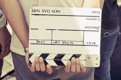 Ardoise de film, dans la coulisse Image stock