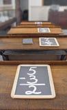 Ardoises sur des bureaux d'école Photographie stock libre de droits