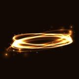Ardore di rintracciamento leggero di effetto del cerchio dell'oro Immagine Stock