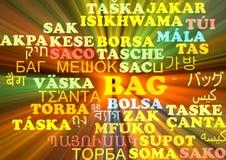 Ardore multilingue di concetto del fondo del wordcloud della borsa Fotografie Stock