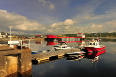 Ardrishaig harbour, Scotland. The small harbour at Ardrishaig, that is the southern entrance/exit for the Crinan canal. On the West coast of Scotland, entering Royalty Free Stock Photography