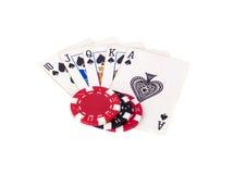 Ards do ¡ de Ð e microplaquetas de pôquer Imagem de Stock Royalty Free