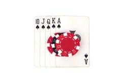 Ards do ¡ de Ð e microplaquetas de pôquer Imagem de Stock