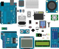 Arduino electronic elements. Electronic components for prototype applications Royalty Free Stock Photo