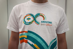 Arduino t-shirt at Robot and Makers Show Royalty Free Stock Images