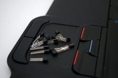 Arduino, transistor, protoboard com diodo emissor de luz alinhou imagem de stock royalty free