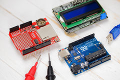 Arduino UNO microcontroller Royalty Free Stock Images