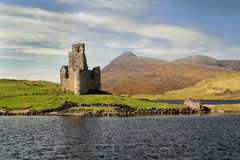 Ardvreck Castle and Loch Assynt Stock Photography