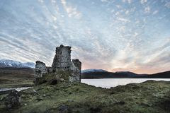 Ardvreck Castle on Loch Assynt in Scotland. Ardvreck Castle ruins on Loch Assynt in Scottish highlands royalty free stock images