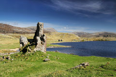 Ardvreck Castle overlooking Loch Assynt Royalty Free Stock Images