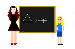 Area. A student answering a test. How to teach plane geometry with drawings royalty free illustration