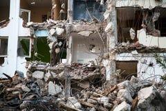 Area abbandonata della costruzione di edifici della riduzione di attività Fotografie Stock Libere da Diritti