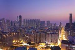 Area ad alta densità del centro ammucchiata in Hong Kong Fotografie Stock