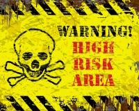 Area ad alto rischio d'avvertimento Fotografie Stock