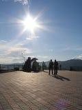 Area against the sun. Monument Tzar-fish in Krasnoyarsk Stock Photos