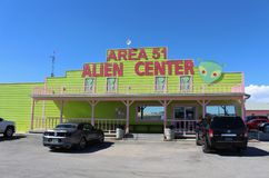 Area 51 Alien Center. Lorry Café in Amargosa Valley, Nevada near the military base Area 51. Surrounding area has spun a variety of conspiracy theories and stock image