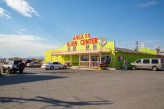 Area 51 Alien Center shop. And gas station near death valley stock images