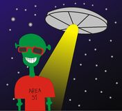 Area 51. Alien walking with a flying saucer above Royalty Free Stock Images