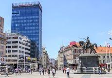 Area Bana Josip Jelacic in the city of Zagreb, Croatia. Stock Images