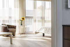 Area of bedroom. Bright and spacious area of bedroom stock photography