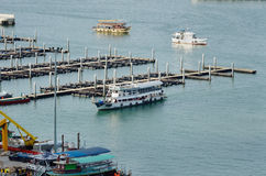 Area boat docks in the bay. Of Pattaya royalty free stock photo