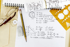 Area calculation. Of circle and triangle - many uses in mathematics and trigonometry Royalty Free Stock Photo