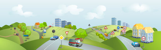 Area with cars and traffic signs. Country roads with cars and traffic signs Royalty Free Stock Photos