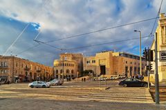 Area with cars and train tracks in Tsahal Square in the center o Royalty Free Stock Photo