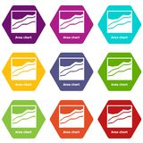 Area chart icons set 9 vector. Area chart icons 9 set coloful isolated on white for web Royalty Free Stock Photography