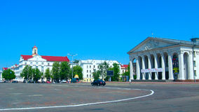 Area in Chernihiv town with beautiful dramatic theatre Stock Images