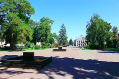 Area in Chernihiv town with beautiful trees and paths Stock Photos