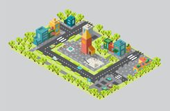 The area of the city with the tower and streets in isometric. The city from a bird`s flight. On the map there is a square with a Playground, as well as the vector illustration