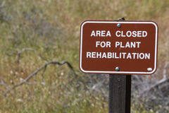 Area Closed for Plant Rehabilitation. A park`s green area is temporarily closed Stock Photo