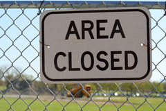 """Area Closed"" Sign Stock Photo"