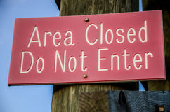 Area closed sign Royalty Free Stock Photos