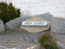 Area Closed Sign on an Ocean Walkway Stock Photography