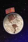 Area contaminated, warning sign on planet Earth Stock Photo