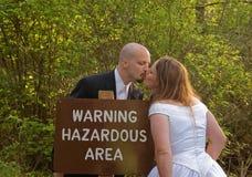 area couple hazardous sign wedding Στοκ εικόνα με δικαίωμα ελεύθερης χρήσης