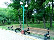 Area del parco, posto per resto, due banchi contro lo sfondo di un parco verde immagine stock