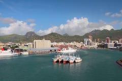 Area dell'acqua del porto marittimo e della città Port Louis, Isola Maurizio Immagini Stock