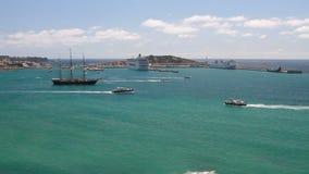 Area dell'acqua del porto marittimo Ibiza, Spagna stock footage