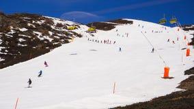 Area della pista dello sci di vista del paesaggio a Jungfraujoh Fotografia Stock