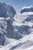 Area dello sci sul ghiacciaio di Rettenbach, Solden, Austria Fotografia Stock Libera da Diritti