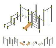 Area di allenamento della via Insieme atletico all'aperto dell'attrezzatura della palestra isolato su bianco Costruttore del parc Fotografia Stock