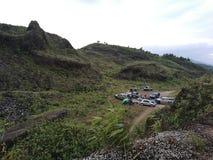 Area di campeggio in montagne Fotografia Stock