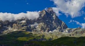 Area di Cervinia - montagna di punta del Cervino, Italia Fotografie Stock Libere da Diritti